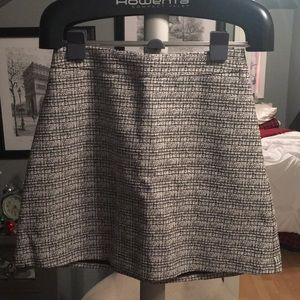 Black and white tweed short flared skirt